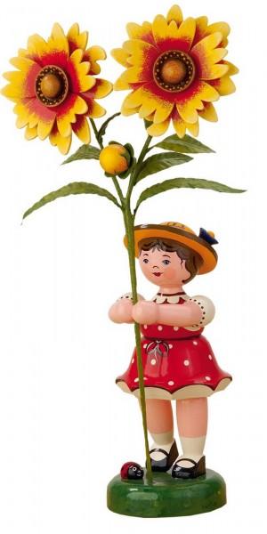 Mädchen mit Kokardenblume aus Holz aus der Hubrig Serie Blumenkinder