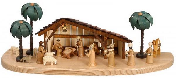Sockelbrett, elektrisch beleuchtet mit einer Weihnachtskrippe und Stall und verschiedenen Figuren (6 cm) aus der heiligen Geschichte. Die Figuren umfassen die …