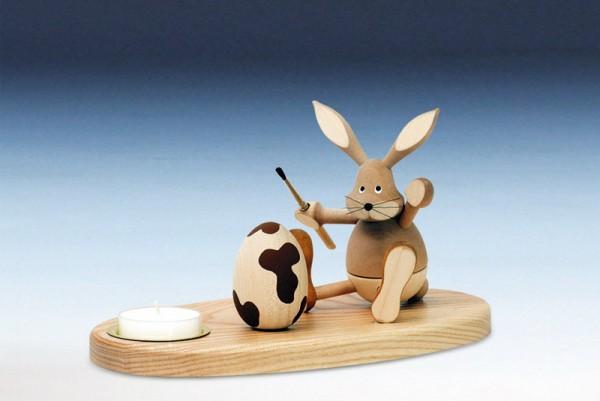 Osterkerzenhalter Teelicht Hase sitzend, bunt, 15 cm von Knuth Neuber Seiffen/ Erzgebirge