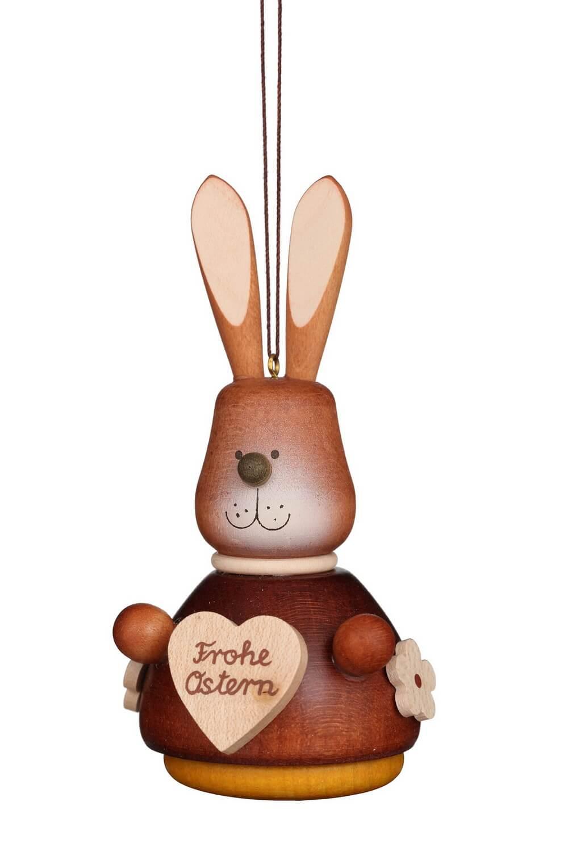 Wackelhase mit Herz, natur von Christian Ulbricht GmbH & Co KG Seiffen/ Erzgebirge ist 10 cm groß. Dieser lustige Geselle wünscht uns ein frohes Osterfest.