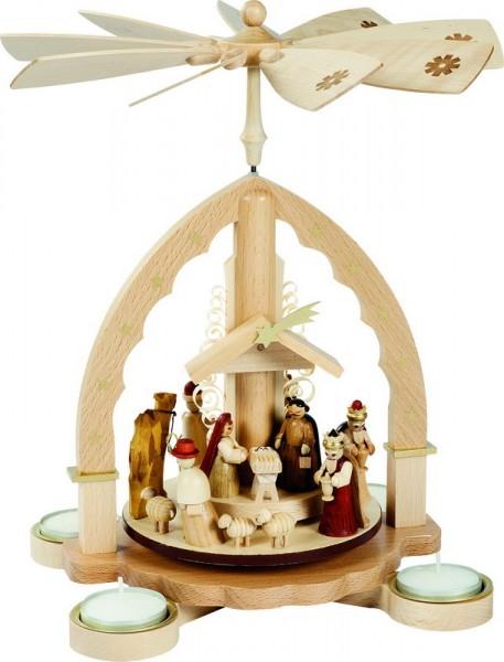 Weihnachtspyramide Christi Geburt, helles Gehäuse für Teelichter, 27 cm, Richard Glässer GmbH Seiffen/ Erzgebirge