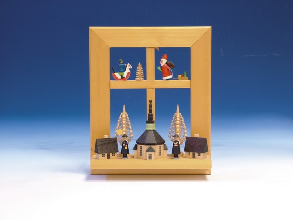 Wandbild, Fenster mit Kurrende und Weihnachtsmann, bunt, 29 cm, Knuth Neuber Seiffen/ Erzgebirge