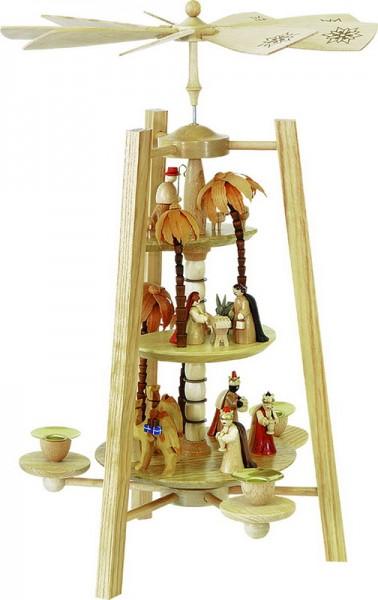 Weihnachtspyramide Christi Geburt, 3 - stöckig, natur, 40 cm, Richard Glässer GmbH Seiffen/ Erzgebirge