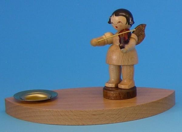 Weihnachtskerzenhalter - Weihnachtsengel mit Violine, natur, 9,5 x 4,5 x 7,0 cm, Frieder & André Uhlig Seiffen/ Erzgebirge