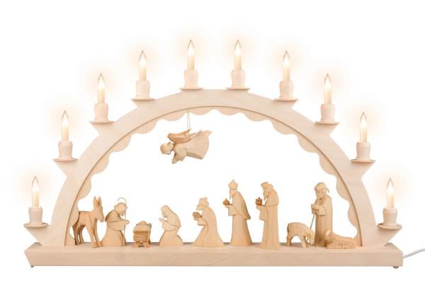 Schwibbogen von Nestler-Seiffen mit geschnitzter Heiliger Familie, elektrisch beleuchtet mit Kleinschaftkerzen_Bild1
