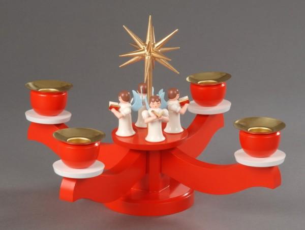 Adventsleuchter, rot - 4 stehende Engel, Adventsleuchter aus massivem Buchenholz, rot lackiert, Engel mit Gesangbuch gedrechselt, in Handarbeit bemalt, …