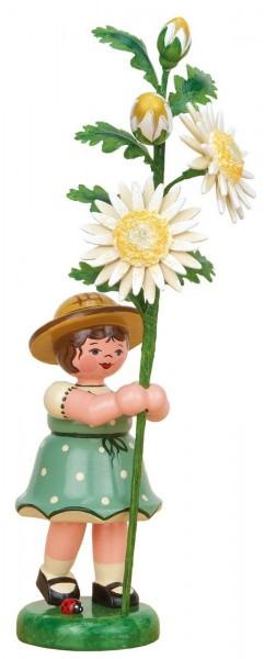 Mädchen mit Edelweißmargerite aus Holz aus der Serie Hubrig Blumenkinder