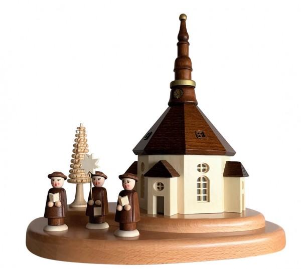 Nestler-Seiffen, Sockelbrett Seiffener Kirche mit Kurrende, beleuchtet_Bild1