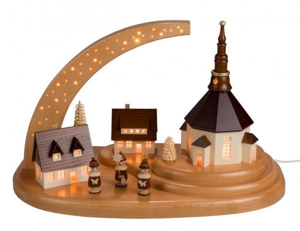 Sockelbrett von Nestler-Seiffen mit dem Motiv Seiffener Dorf und Kurrende mit Sternenhimmel_Bild1