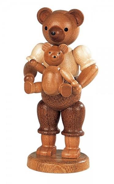 Dekofigur Bärenvater mit Kind aus Holz, naturfarben von Müller Kleinkunst aus Seiffen