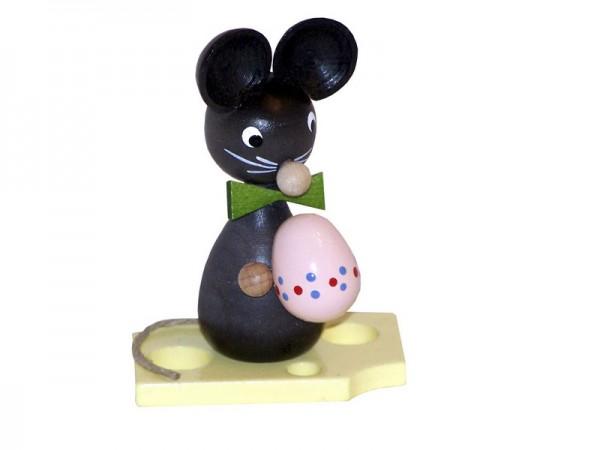 Mäusekind mit Ei, 7 cm, Volker Zenker Seiffen/ Erzgebirge