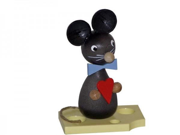 Mäusekind mit Herz, 7 cm, Volker Zenker Seiffen/ Erzgebirge
