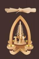 Vorschau: Teelichtpyramide mit Faltenrockengel, 28 cm hergestellt von Heinz Lorenz Olbernhau/ Erzgebirge_Bild2