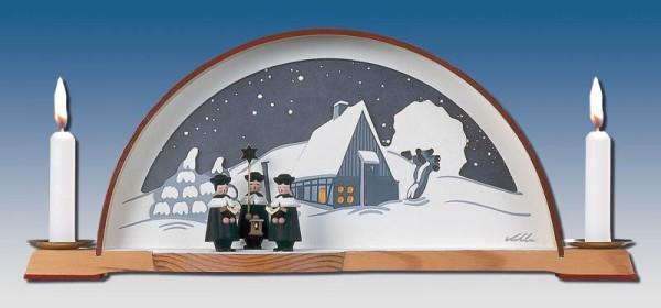 Schwibbogen Waldhaus mit Kurrende und elektrischer Hintergrundbeleuchtung, 33 x 14 cm, Manufaktur Klaus Kolbe Seiffen/ Erzgebirge