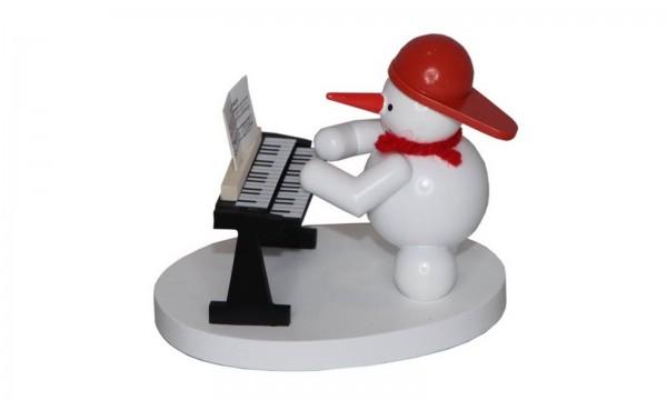 Schneemann mit Keyboard, farbig, 8 cm von Volker Zenker aus Seiffen