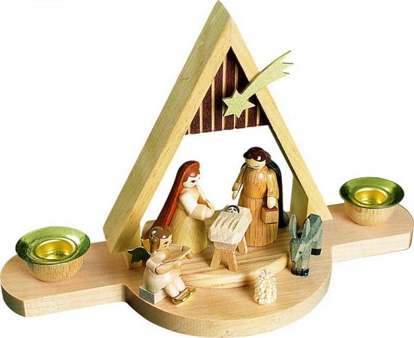 Weihnachtskerzenhalter Christi Geburt, 11 cm, Richard Glässer GmbH Seiffen/ Erzgebirge