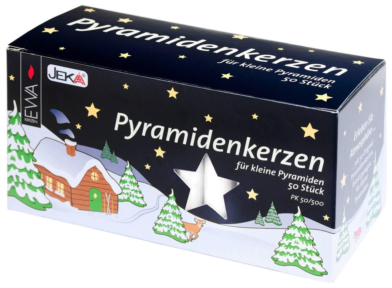 EWA Pyramidenkerzen 50 Stück weiß - 50 Stück für Weihnachtspyramiden
