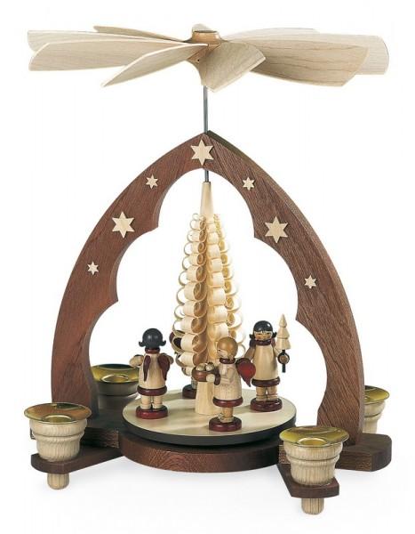 Weihnachtspyramide mit Geschenkeengel Spitzbogen, natur, 22 x 15 x 28 cm, Müller GmbH Kleinkunst aus dem Erzgebirge