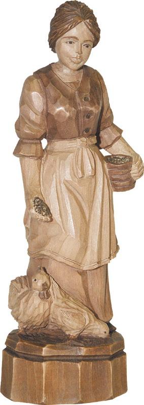 Bäuerin mit Hühnern, geschnitzt und gebeizt von Schnitzkunst aus dem Erzgebirge_Bild2