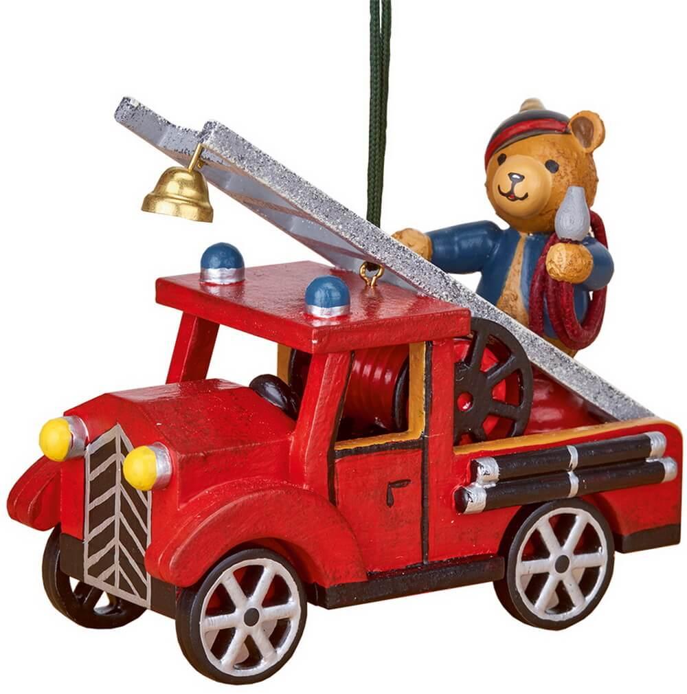 Baumbehang & Christbaumschmuck Feuerwehr mit Teddy von Hubrig Volkskunst Zschorlau/ Erzgebirge ist 8 cm groß.