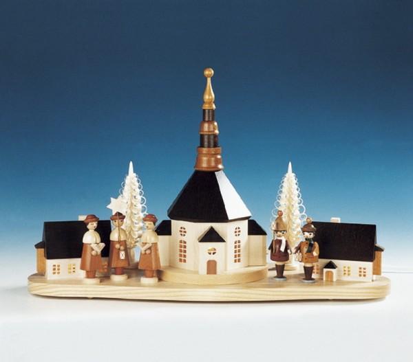 Sockelbrett Weihnachtsberg mit großer Kurrende und Laternenkinder, komplett elektrisch beleuchtet, 31 x 52 cm, Knuth Neuber Seiffen/ Erzgebirge