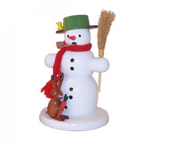 Räuchermännchen Schneemann mit Hase, 18 cm von Volker Zenker aus Seiffen
