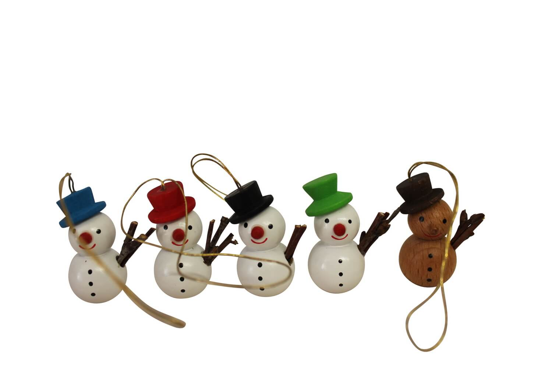 lustige Schneemänner, 5 - teilig, 4 cm von Nestler-Seiffen