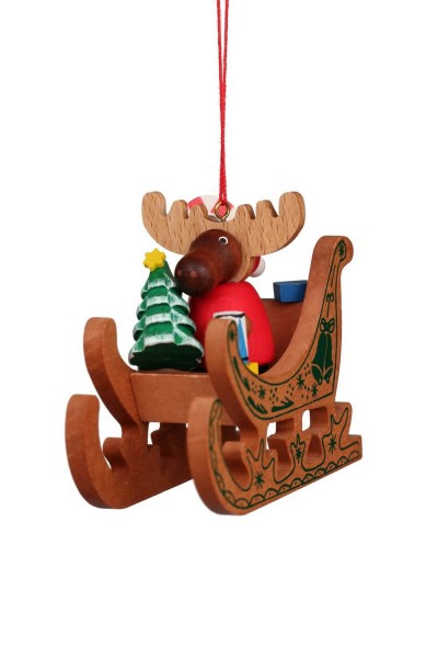 Baumbehang & Christbaumschmuck Elch Weihnachtsmann auf Schlitten, 6 Stück, 8 x 7 cm, Christian Ulbricht GmbH & Co KG Seiffen/ Erzgebirge