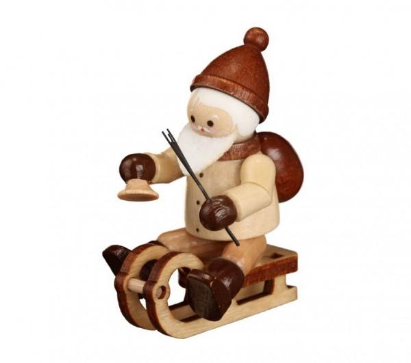 Der Rodelnde Nikolaus, mini in natur von Romy Thiel Deutschneudorf/ Erzgebirge, ist ein lustiger Geselle. Wenn man im Schnee nicht schnell genug voran kommt, …