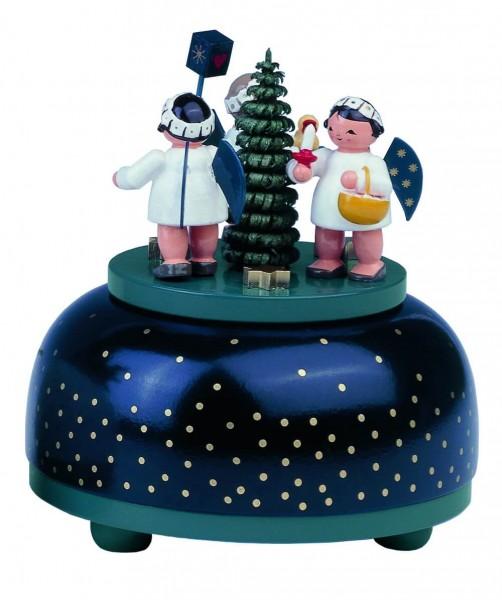 Spieluhr & Spieldose Weihnachtsengel mit Geschenk, 11 cm, Melodie: We Wish a Merry Christmas....von KWO Kunstgewerbe-Werkstätten Olbernhau/ Erzgebirge