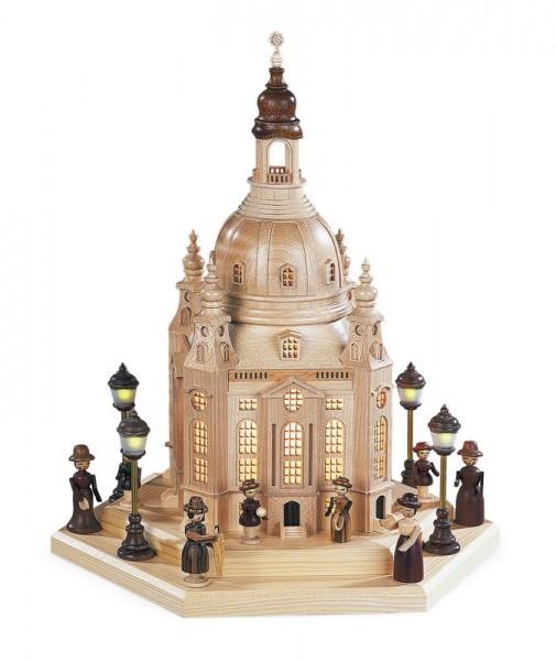 Lichterhaus Frauenkirche Dresden, komplett elektrisch beleuchtet inklusive Trafo, (230 V 50 Hz), 24 x 21 x 28 cm von Müller GmbH Kleinkunst aus dem Erzgebirge