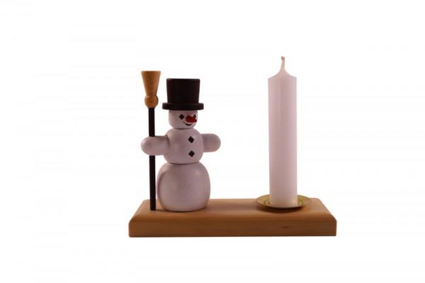 Weihnachtskerzenhalter Schneemann, bunt, 8 cm, Spielwarenmacher Günther Seiffen/ Erzgebirge