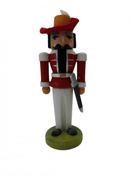 Miniaturnussknacker Musketier, rot, 7 cm, Seiffen/ Erzgebirge