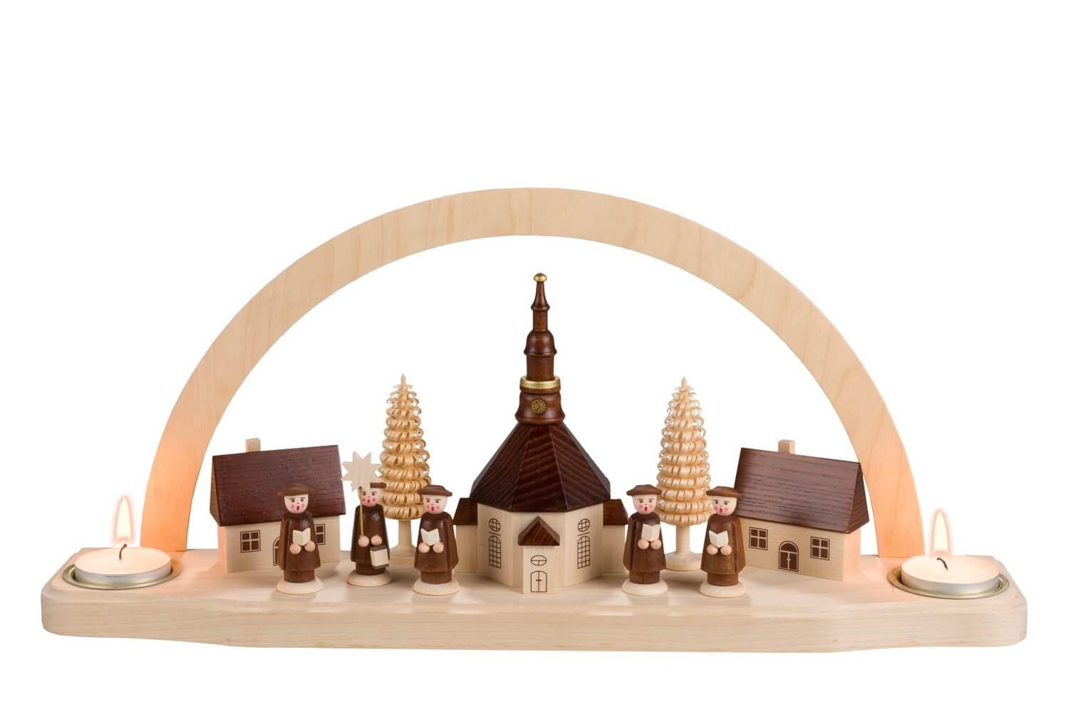 Schwibbogen von Nestler-Seiffen mit dem Motiv Seiffener Kirche für Teelichter_Bild1