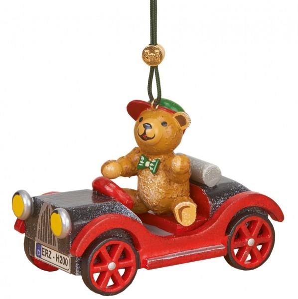 Baumbehang & Christbaumschmuck Auto mit Teddy, 10 cm, Hubrig Volkskunst GmbH Zschorlau/ Erzgebirge