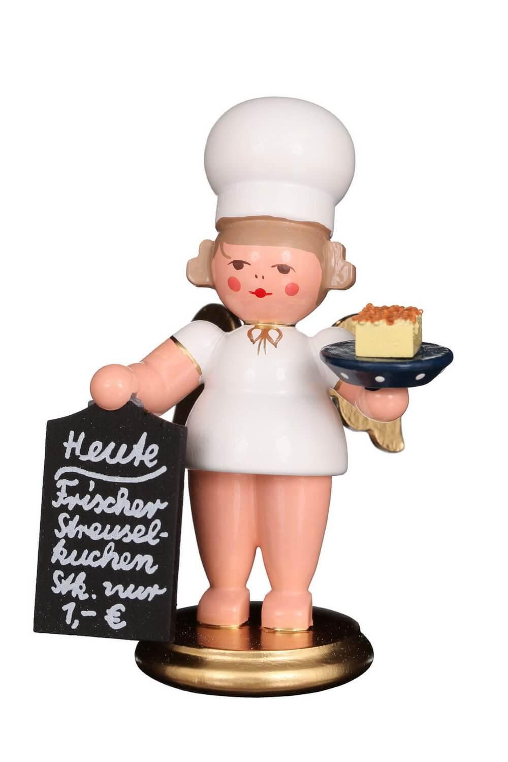 Weihnachtsengel - Bäckerengel mit Streuselkuchen, 8 cm von Christian Ulbricht GmbH & Co. KG Seiffen/ Erzgebirge