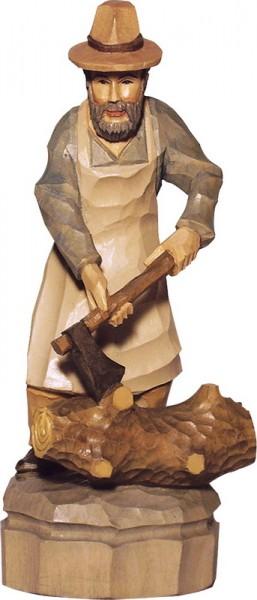 Holzfäller, farbig, geschnitzt, in verschiedenen Größen von Schnitzkunst aus dem Erzgebirge