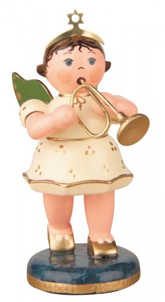 Hubrig Volkskunst Weihnachtsengel mit Trompete aus Holz