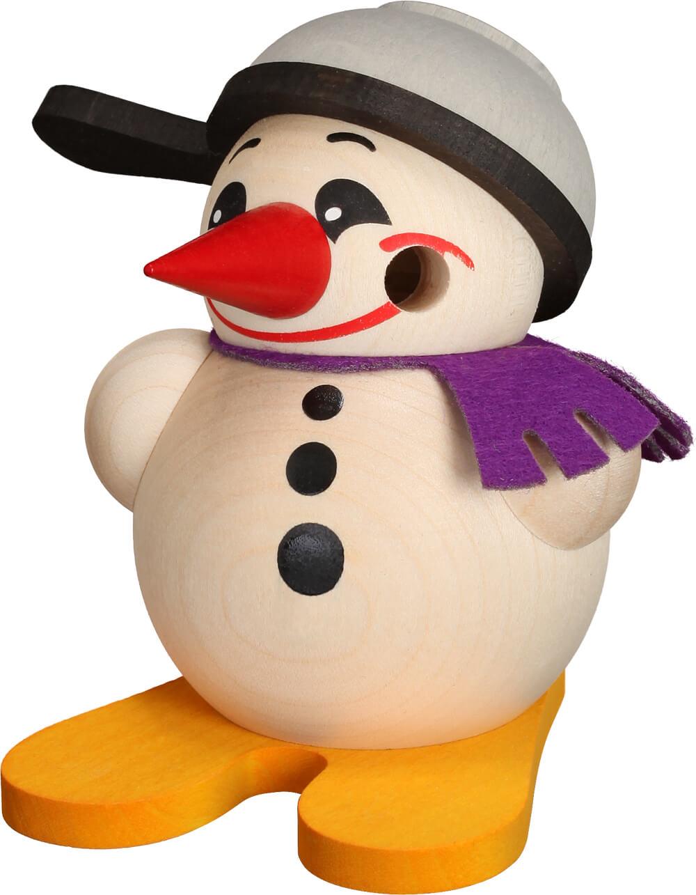 kleiner Räuchermann Schneemann mit Ski und Pfanne als Hut