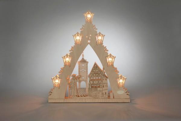 Schwibbogen & Lichterspitze Rothenburg ob der Tauber, 7 flammig, elektrisch beleuchtet, 38 x 43 x 4,5 cm von Weigla - Günter Gläser Deutschneudorf/ …