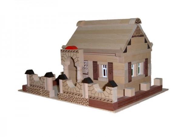 Holzbaukasten Noblesse Haus, 150 Holzbausteine, 37 x 27 x 5 cm, Spielalter ab 3 Jahre, Erzgebirgische Holzspielwaren Ebert GmbH Olbernhau/ Erzgebirge