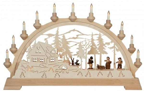 KWO Schwibbogen Motiv Forsthaus mit Waldleuten aus dem Erzgebirge elektrisch beleuchtet