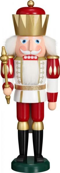 Darf ich vorstellen: Ihre Majestät der Nussknacker König in weiß-rot, 40 cm von der Seiffener Volkskunst eG Seiffen/ Erzgebirge. Ein stolzer König, …