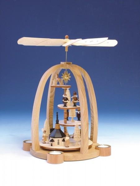 Teelichtweihnachtspyramide Treppe Seiffener mit Kirche mit Kurrende und Laternenkindern, natur, 41 cm, Knuth Neuber Seiffen/ Erzgebirge