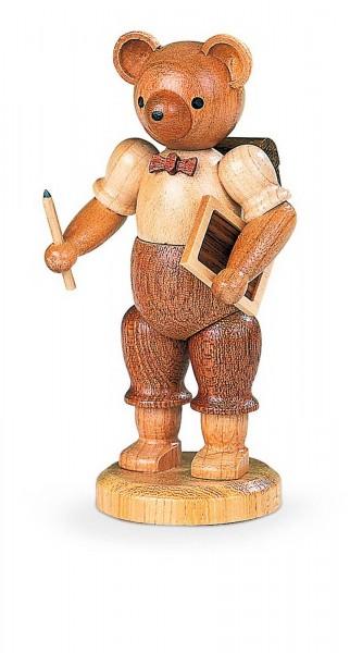 Dekofigur Bärenschuljunge aus Holz, naturfarben von Müller Kleinkunst aus Seiffen