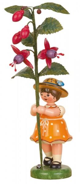 Mädchen mit Fuchsie aus der Serie Hubrig Blumenkinder aus Holz