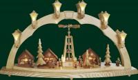 Vorschau: Schwibbogen Weihnachtsmarkt, komplett elektrisch beleuchtet, 43 cm x 80 cm, Richard Glässer GmbH Seiffen/ Erzgebirge