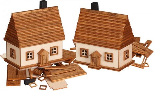 Bastelset Erzgebirgshäuser aus Holz zum selber basteln