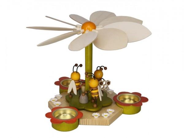Teelichtpyramide mit Bienen, 19 cm von Volker Zenker aus Seiffen