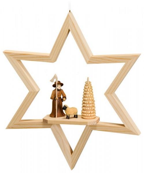 Fensterschmuck Stern mit Schäfergruppe, natur, zum hängen, 23 cm, Robbi Weber Seiffen/ Erzgebirge